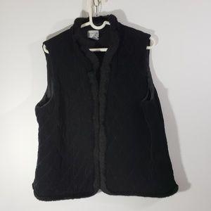Chico's Women's Quilted Black Fur Trim Vest